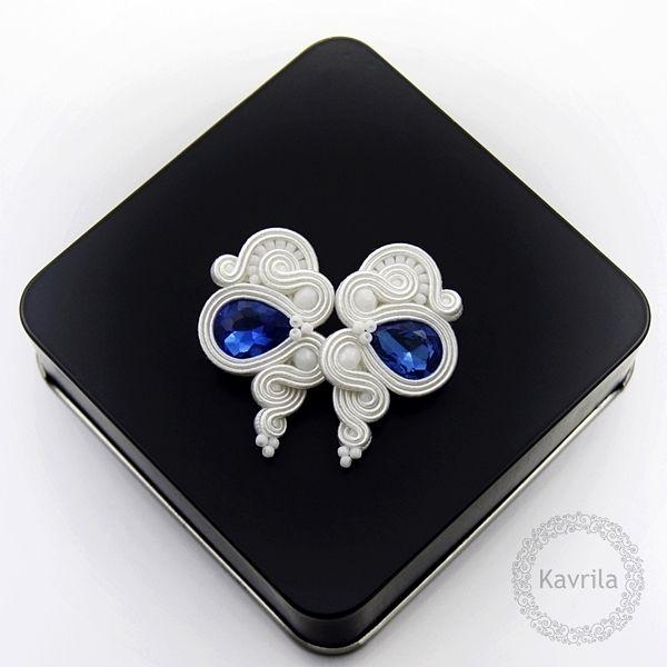 Lady cobalt soutache - kolczyki ślubne sutasz KAVRILA #sutasz #kolczyki #ślubne #rękodzieło #soutache #handmade #earrings #wedding #white #cobalt #kavrila