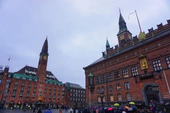 Copenhagen - Rådhuspladsen with the Palace Hotel and the City hall