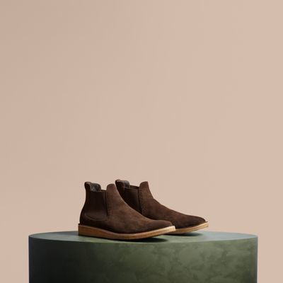 Burberry Washed-suede Chelsea Boots with Crepe Soles
