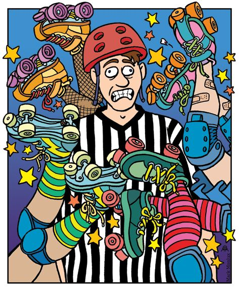 The poor ref.  Roller Derby. #rollerderby #referee