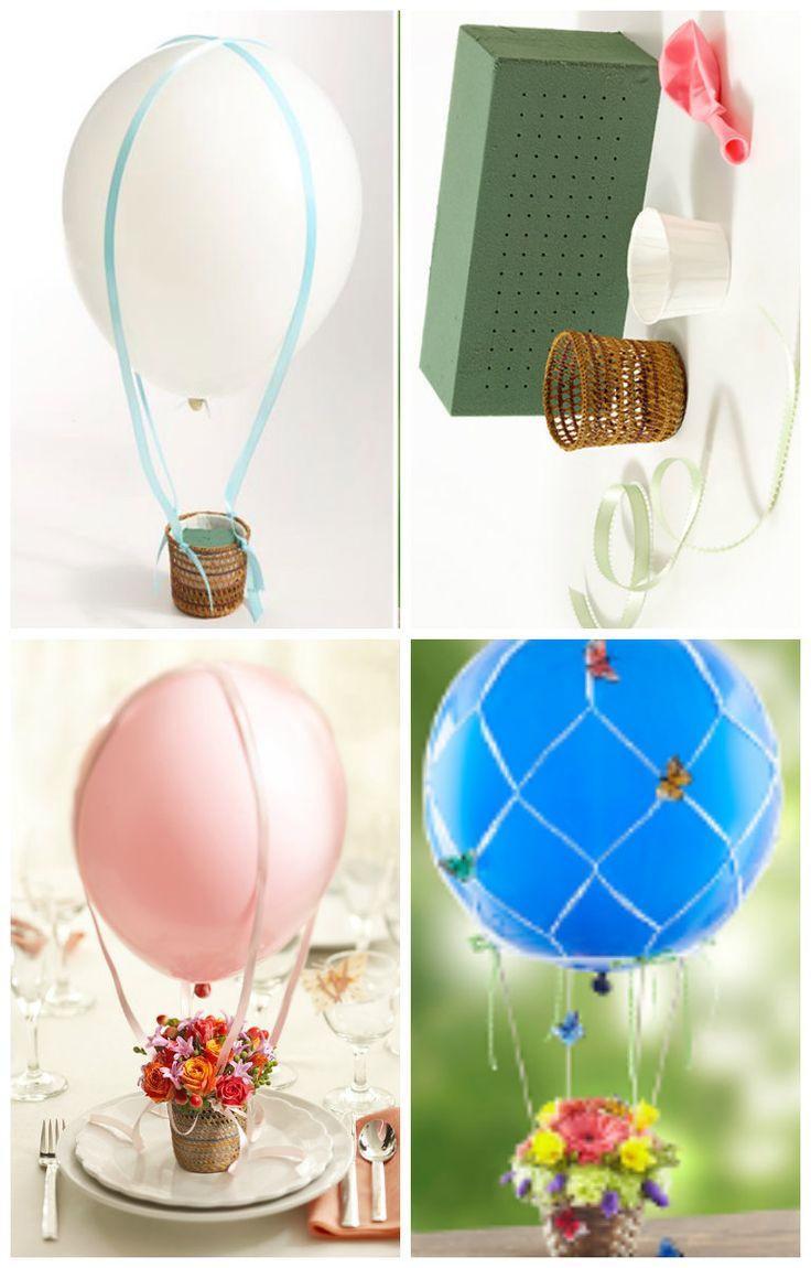 Mini bal o de ar quente com cestinhos de flores mini - Flores de plastico ...
