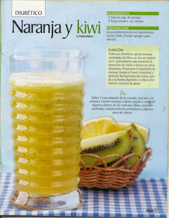 Verde y Natural: Jugo diurético de naranja y kiwi