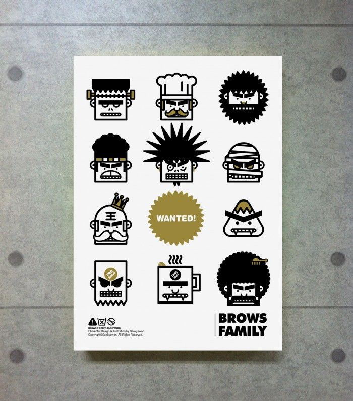 BROWSFAMILY_Wanted Poster - 그래픽디자인, 캐릭터디자인, 일러스트