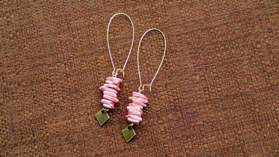 Pink Chip Beads and Diamond Bronze Dangling Earrings