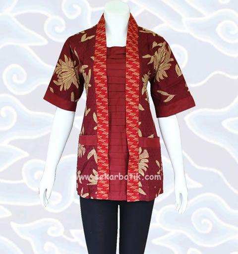 baju blus batik kerja wanita warna marun BB31 di koleksi http://sekarbatik.com/blus-batik/