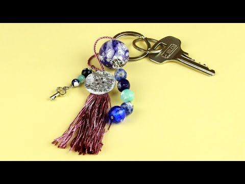 In our new tutorial we'll craft an attractive DIY beaded keychain that will add glamor to your purse or keep your keys safe! #diykeychain #beadedkeychain #accessories