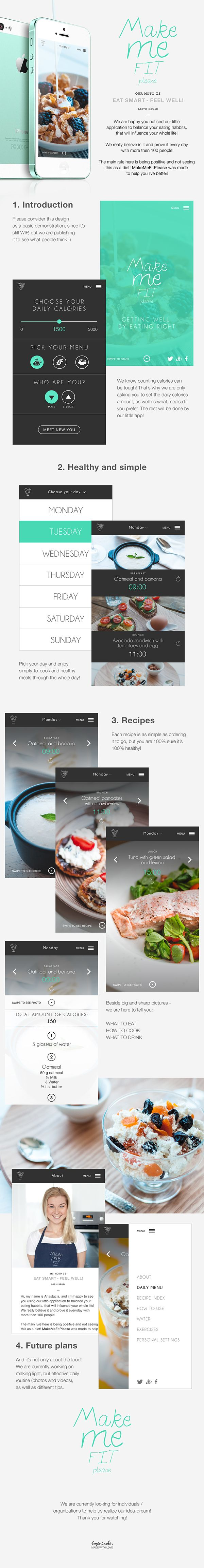 Make Me Fit Please UI/UX by Studio43, via Behance #app #mobile #food #health #ux #ui #design