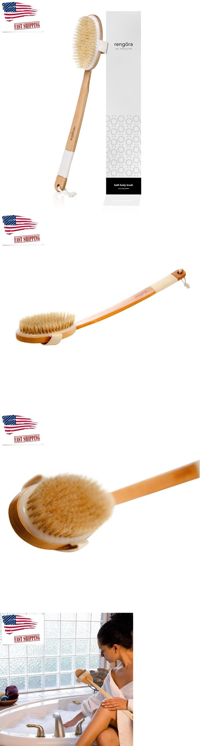 Bath Brushes and Sponges: Bath Brush Extra Long Handle 18 W Natural Bristles Curved Wooden Shower Brush -> BUY IT NOW ONLY: $30.02 on eBay!