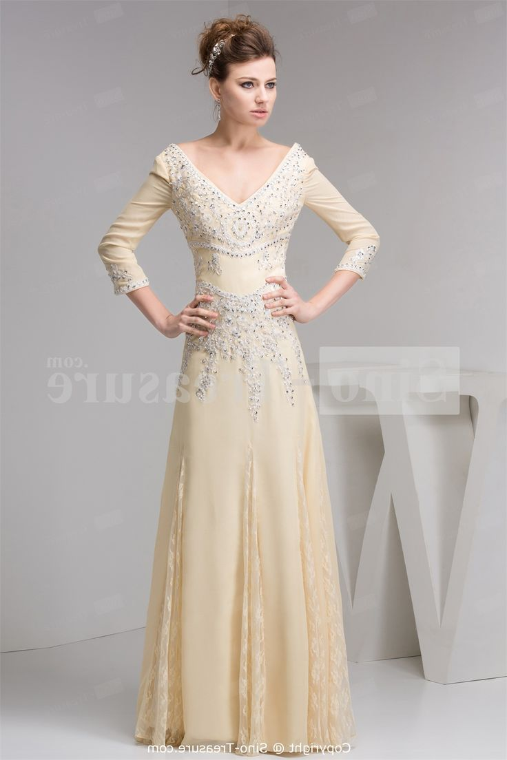 Long Sleeve Prom Dresses Beige