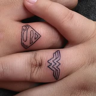 This superbly dynamic duo. | 23 Geeky Couple Tattoos That Are Beyond Perfect: