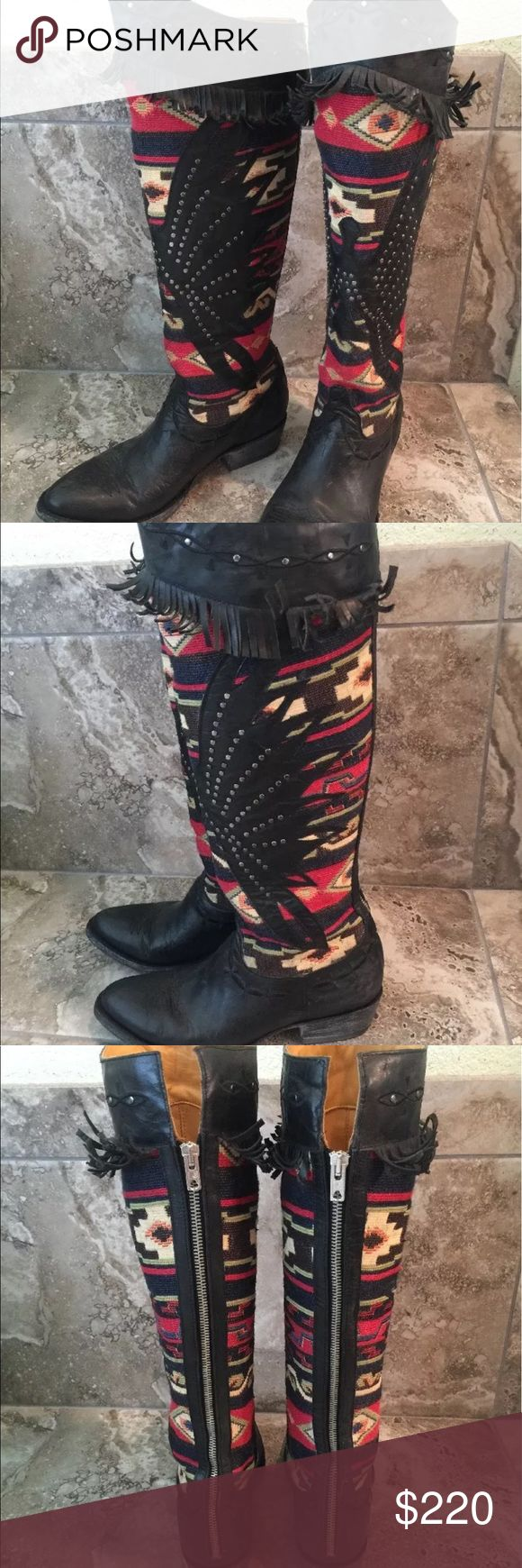 """Old Gringo San Juanera 8.5 Gorgeous handmade Old Gringo San Juanera 18"""" shaft boots with back zippers, leather lowers, and fringe with eagles on the Aztec-design uppers. Worn once & perfect condition! These retail at $700! Old Gringo Shoes Heeled Boots"""