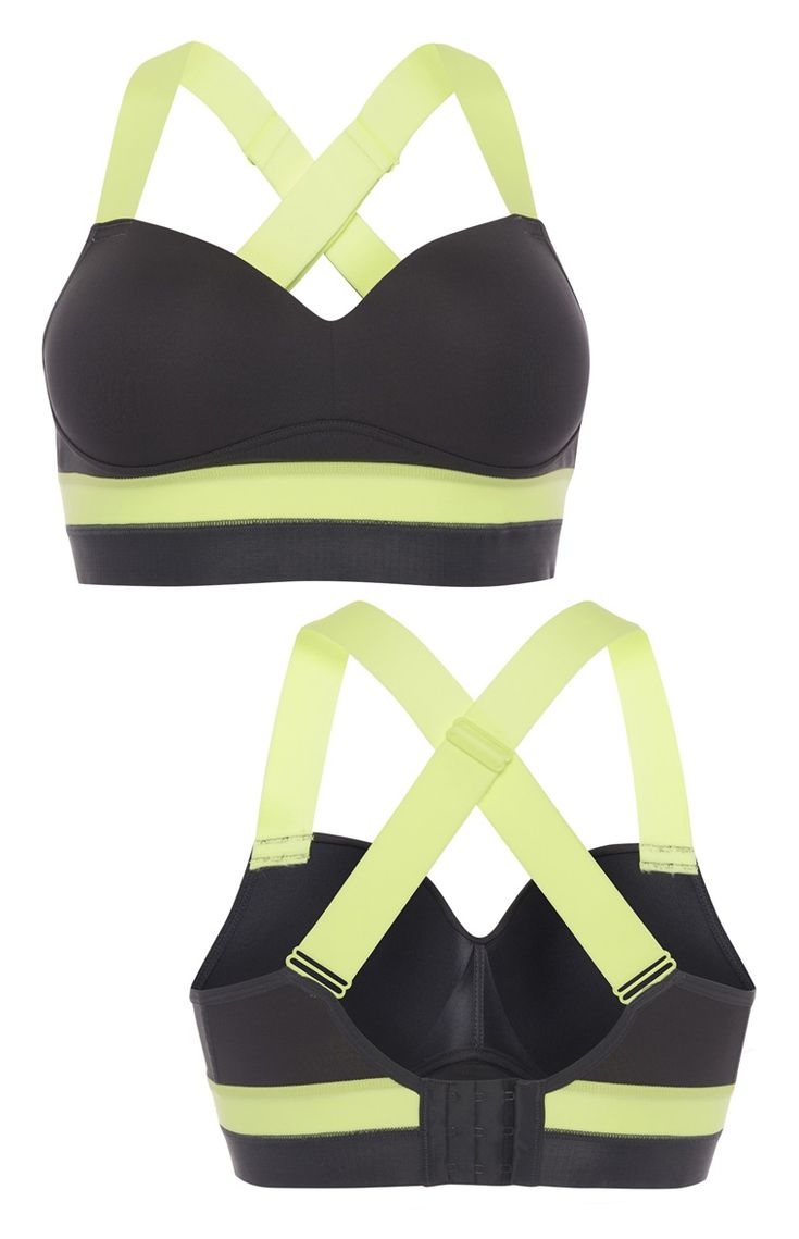 Grey And Lime Padded Sports Bra