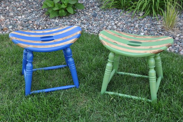 big stools cut down and painted