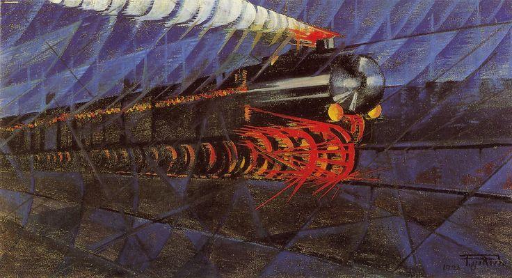 P. Rizzo, Treno notturno in corsa, 1926