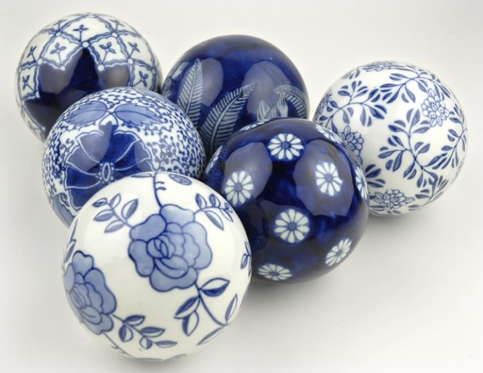 """6 Porcelain (3"""") Blue & White Rosette Balls $10.49/ 6 balls CHEAP!! I always wanted these but have nothing blue in my life!"""