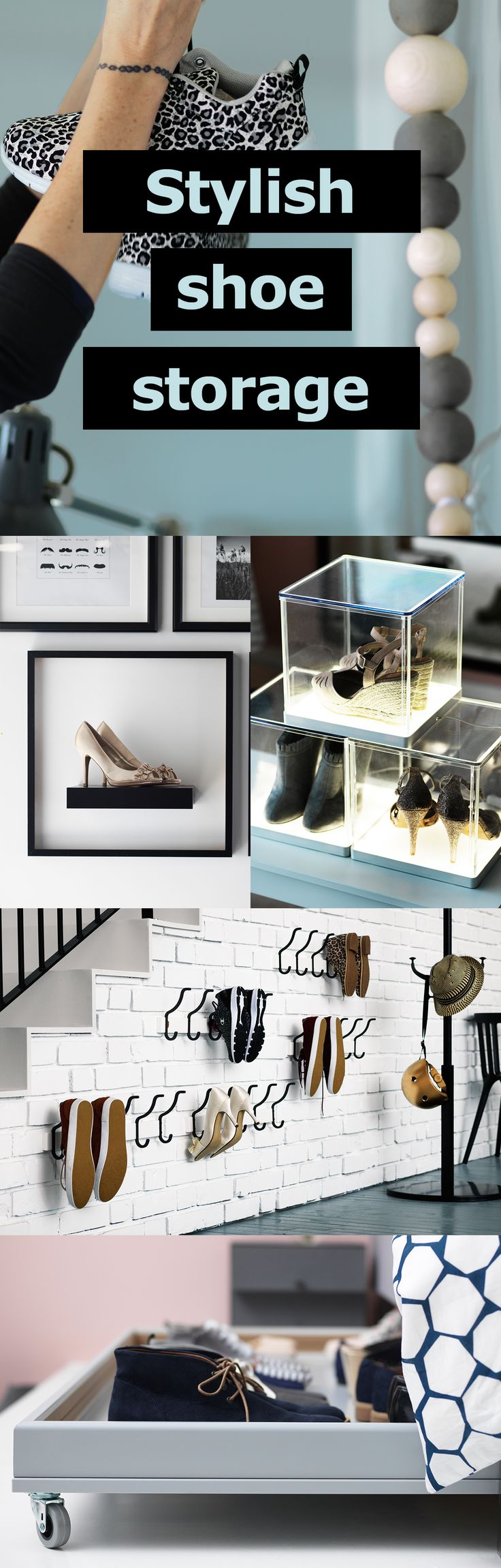 Getting caught in a shoe-avalanche everytime you open the wardrobe? We've thought up some creative ways to store them with style. 1. Hang 'em up, street-style. 2. Rather tuck your kicks away? Create some under bed shoe storage using any kind of flat board. 3. Display your favourite pairs alongside the rest of your wall art. 4. Don't limit your shoe collection to your floor space. We all have walls, so why not use that space instead? 5. Give your shoes pride of place in a display case.