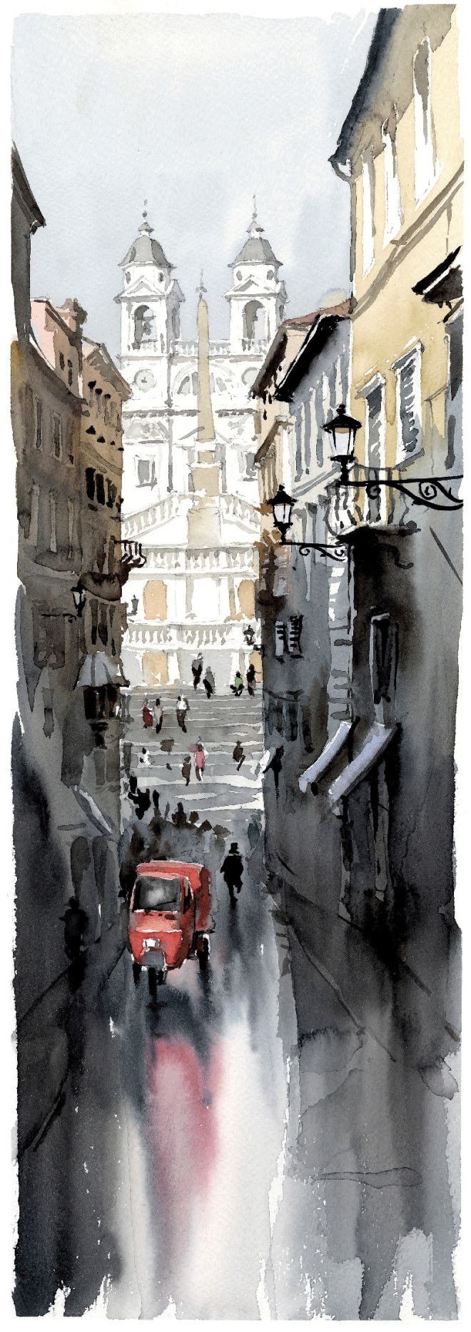 Igor Sava | Associazione Romana Acquerellisti. I like the reflection. I think that I also can create a City scenes with reflections in it.