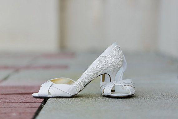 Ivory Floral Applique Bridal Low Heels