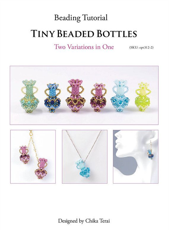 Pendant patterns, beaded bottles, seed bead patterns, PDF beading tutorial, bead weaving pattern, two variations instruction, ept312-2