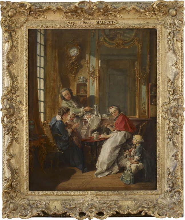 François BOUCHER - Le déjeuner - 1739 - Louvre (scène de genre, intimité familiale, montre intérieur rocaille et goût pour l'Orient -> magot chinois)