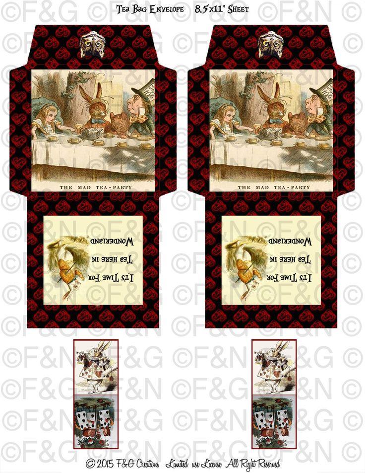 "Alice in Wonderland ""It'sTime For Tea In Wonderland"" Digital and Printable Tea Bags Envelopes -  Digital Collage Sheet - Tea Bag Holder - di TheEmporiumOfWonders su Etsy"
