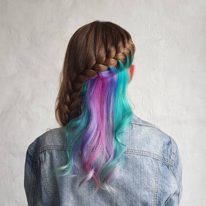 """Hidden Rainbow Hair"" Trend Conceals Vibrant Colors Beneath Naturally-Shaded Locks - My Modern Met"