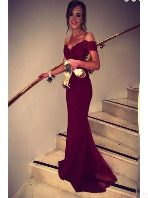 Mermaid Burgundy Satin Floor Length Prom Dress with Lace Top   #SIMIBridal #promdresses