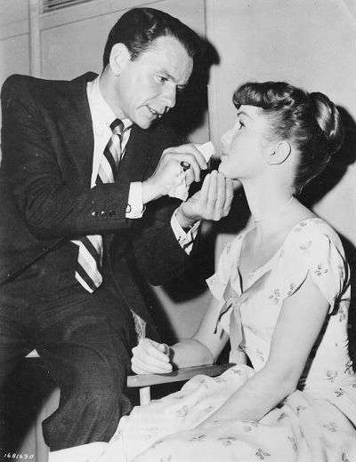 Frank Sinatra and Debbie Reynolds on the set of The Tender Trap (1955)