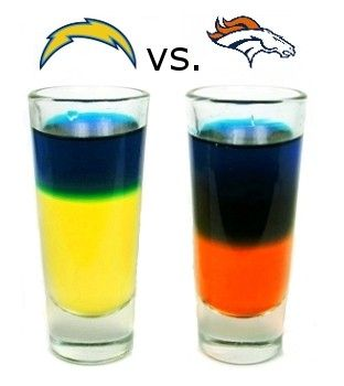 San Diego Chargers vs. Denver Broncos - NFL team tequila shots! Can I order 5 of these, each for next weekends game!?