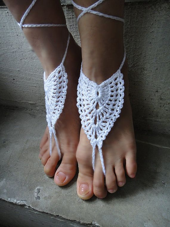 Look What I Found On Tina Crochet Studio White Barefoot Sandals By
