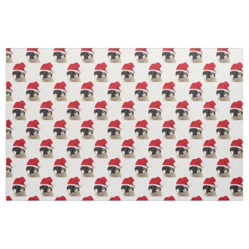 Cat with Santa Hat Pattern Fabric (cotton, polyester, linen, etc.) #fomadesign
