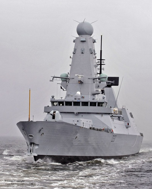 Brand new Type 45 destroyer HMS Duncan begins sea trials off Scotland.