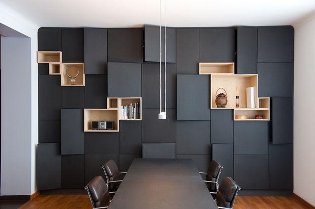 Matt Black + wood storage - design Filip Janssens