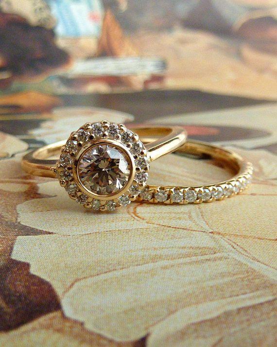 Yellow Gold Bezel Set Diamond Halo Ring by kateszabone on Etsy, $1895.00
