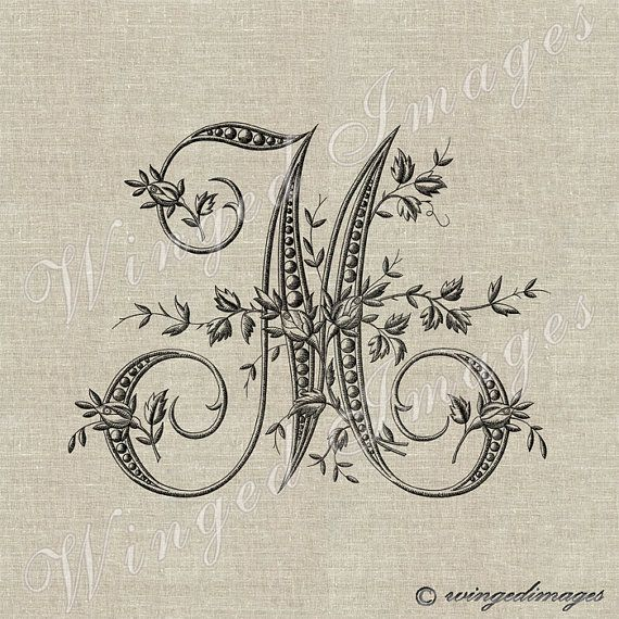 Antique French Monogram Letter M Instant Download Digital Image No.229 Iron-On Transfer to Fabric (burlap, linen) Paper Prints (cards, tags)...