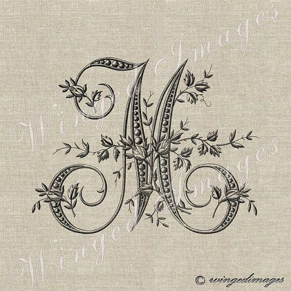 Antique Français Monogram lettre M Instant par WingedImages sur Etsy
