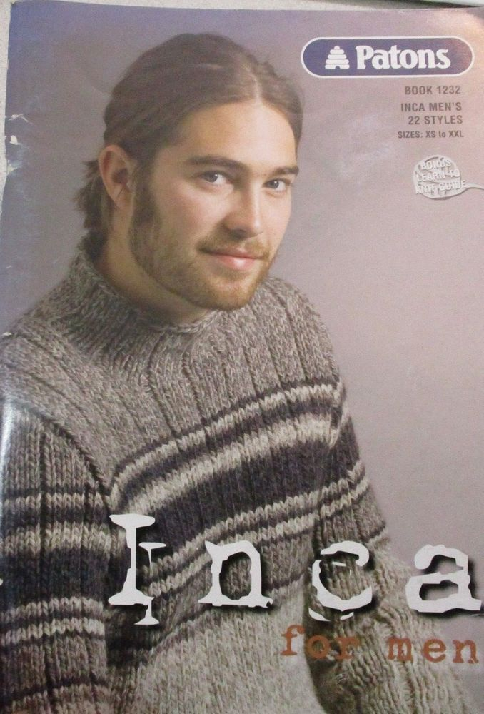 Patons Inca For Men 22 Knitting Patterns Xs Xxl Sweaters Jackets No