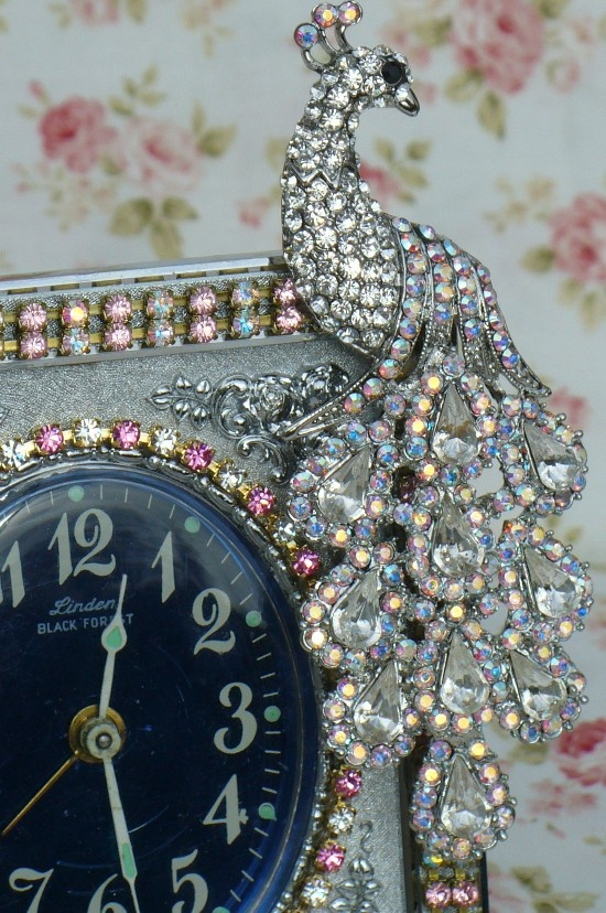 Beautiful Pink Rhinestone Amp Peacock Jeweled Linden Black
