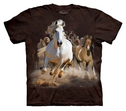 £21.99 A stampede of horses charge across the plains, on this horse t-shirt from The Mountain. The Mountain T Shirts are 100% cotton Tees printed with environmentally friendly water based inks. Images can be ironed over without any problems.
