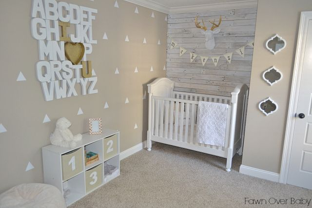 Project Nursery - Neutral Nursery with White Triangle Wall Decals - Project Nursery