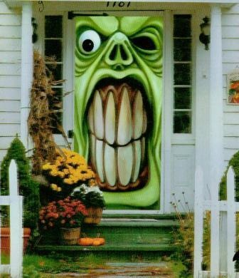 HALLOWEEN BIG GREEN MONSTER HOUSE FRONT DOOR COVER DECORATION PROP/SCARY  42X72