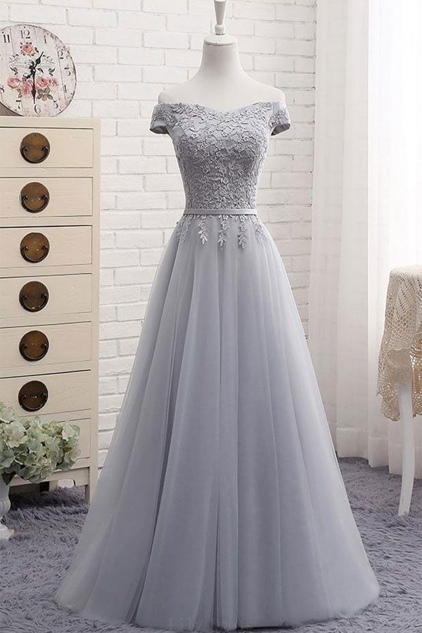 Discount Popular A-Line Prom Dresses A-Line Gray Lace Off The Shoulder Tulle Lace-up Sweetheart Prom Dress