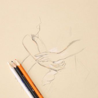 Time-lapse video: drawing hands with trois crayons technique. Part of the 'Drawing Hands Week'.