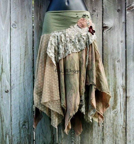 One of a kind bohemian hobochic tattered skirt KS069 by KayLim