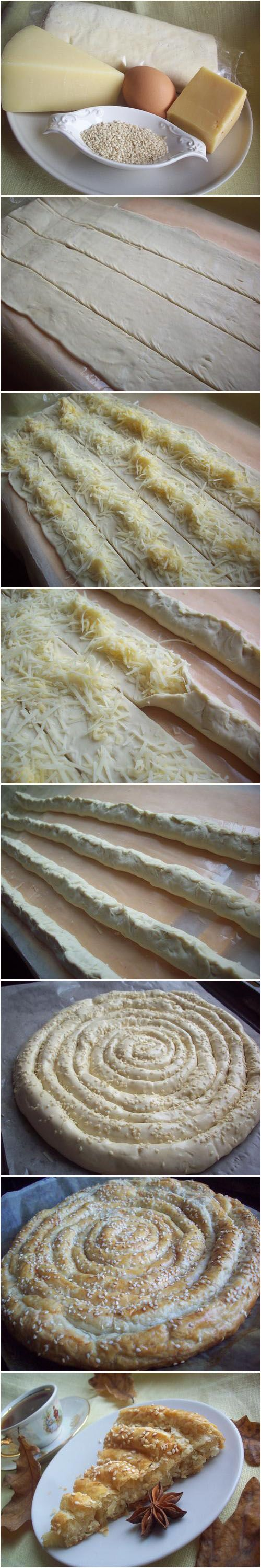 Puff Pastry, Cheeses, Sesame and Egg For Brushing The Top