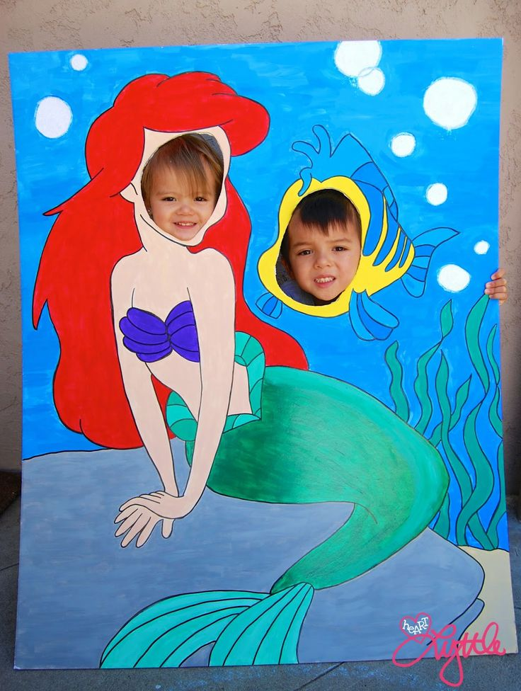 he{ART} lyttle: DIY little mermaid Ariel and Flounder photo backdrop