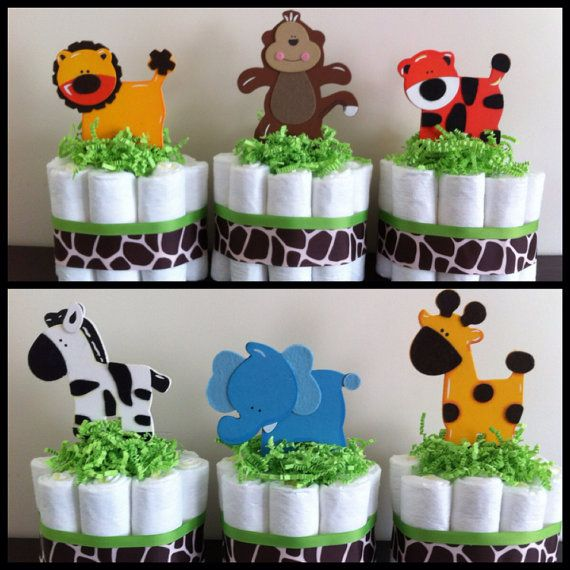 Mini Jungle Diaper Cakes SET OF 6, Safari Baby Shower, Baby Shower Centerpiece,Gender Neutral Baby Shower, Gender Neutral Diaper Cakes op Etsy, 39,49 €