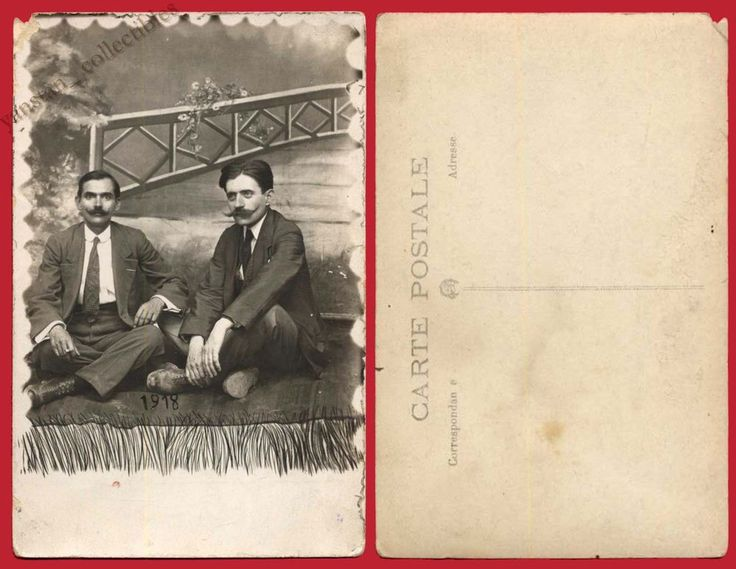 #19411 Greece 1918. Men with mustaches. Photo PC size