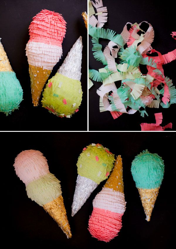 Ice Cream Cone Pinatas DIY