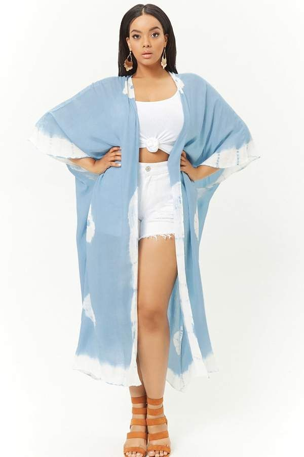 aa05db3a4c Forever 21 Plus Size Boho Me Tie-Dye Kimono